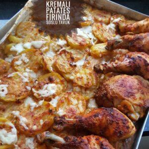 Fırında Kremalı Patatesli Soslu Tavuk