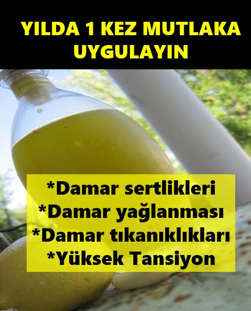 Limonlu Sarımsaklı Su Yılda 1 Defa Uygulayın