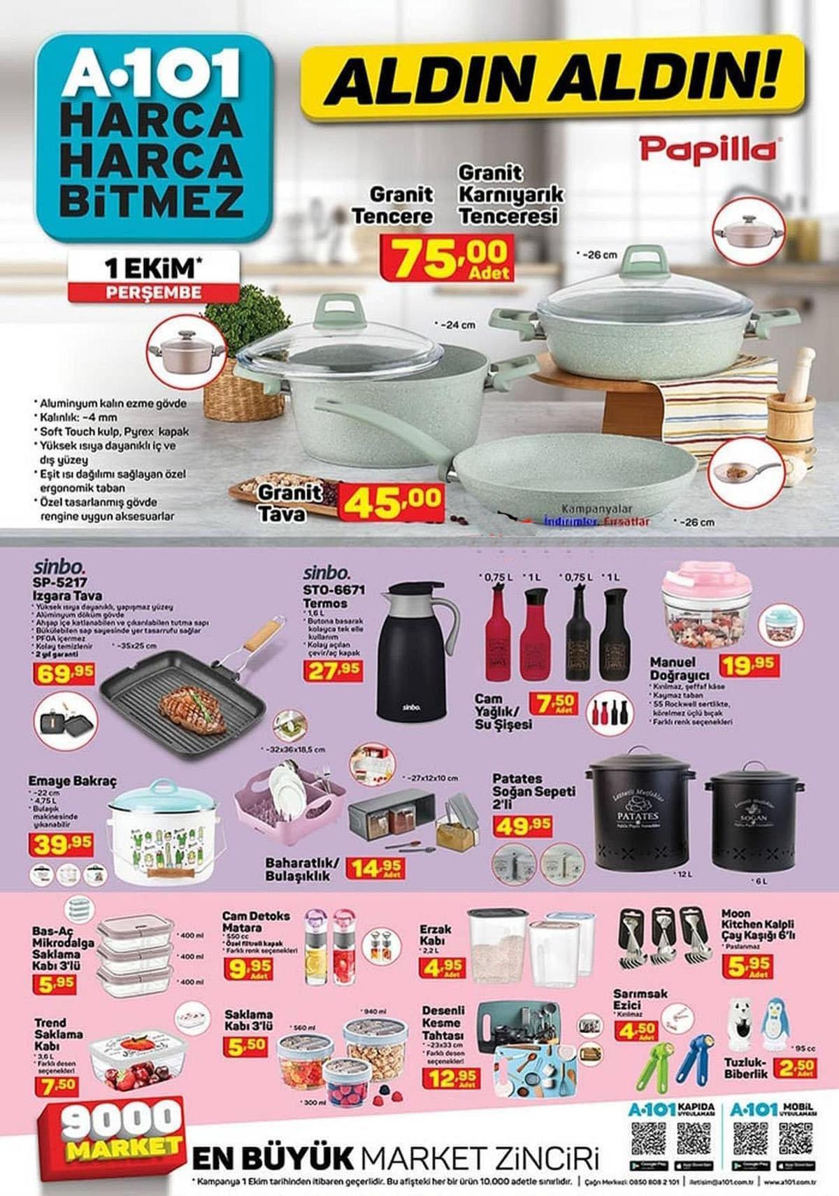 A101 1 Ekim 2020 İndirimli Aktüel Ürünler Kataloğu